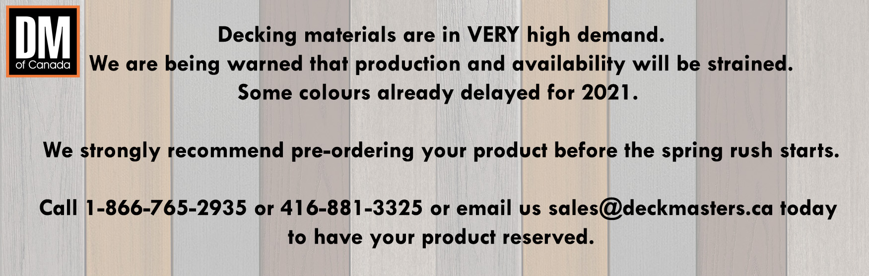 Deck Masters of Canada pre order products for summer projects